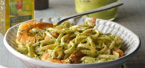 Chef Oropeza-pasta con camarón y salsa de aguacate