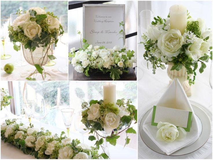 白いバラとグリーンを合わせた爽やかなアレンジメントは、誰からも愛される人気度ナンバーワンの組み合わせ。