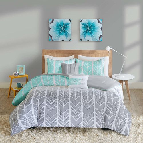 Features:  -Comforter/sham fabrication: 100% Polyester microfiber.  -Cherie collection.  Product Type: -Comforter/Comforter set.  Style: -Contemporary.  Pattern: -Chevron.  Material: -Polyester.  Clea