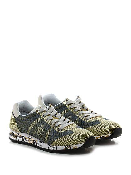 PREMIATA - Sneakers - Donna - Sneaker in tessuto lavorato e pelle con suola in gomma loggata. Tacco 30, platform 20 con battuta 10. - 1512 BEIGE\BLU - € 214.00