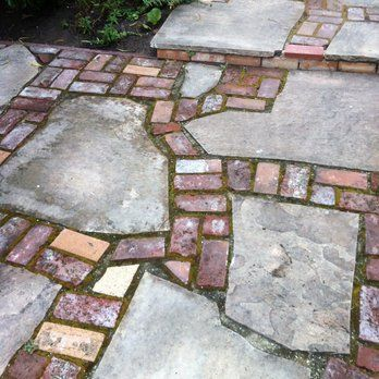 Reclaimed brick and flagstone patio | Yelp