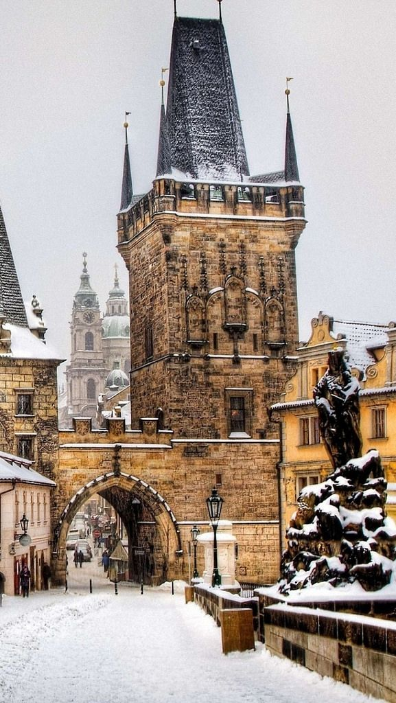 Winter snow in Prague, Czechia