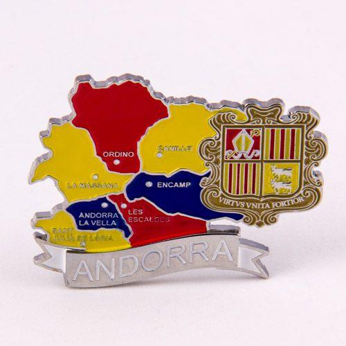 Metal Fridge Magnet: Andorra. Map of Andorra (Chrome Plating and Enamel)