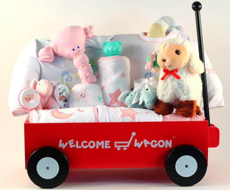 154 best baby gift baskets for girls images on pinterest baby gift welcome wagon deluxe baby girl gift basket negle Choice Image