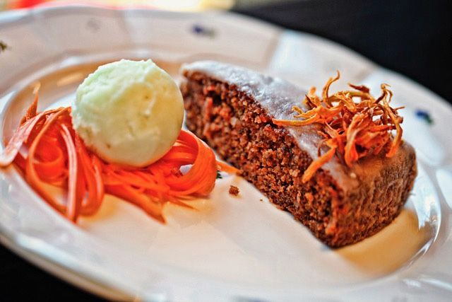 carrot cake with lemon topping, carrot straw and apple sorbet