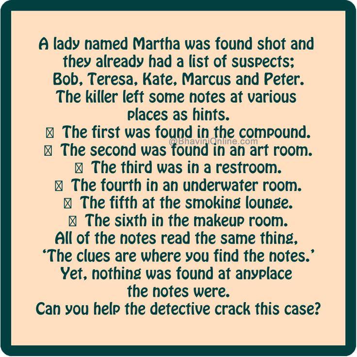 Murder Mystery who killed Martha Answer |             /                           |             /                           |             /                           |              |                            |             /              MARCUS