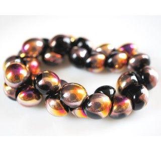 25pcs Czech Glass Mushroom Button Beads 9x8mm Jet Sliperit
