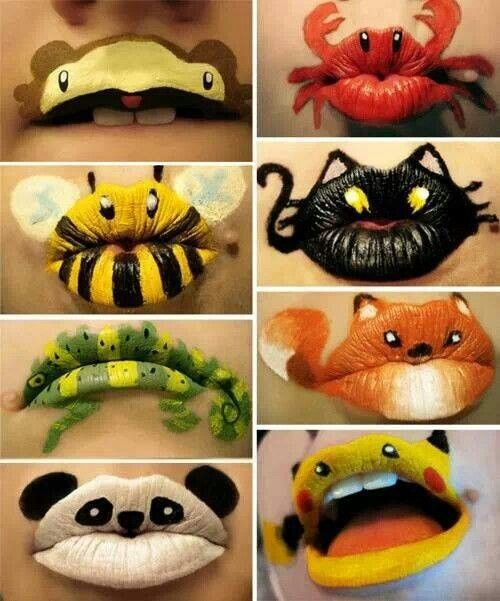 Halloween painted lips, great for school. Painting the faces takes too long.