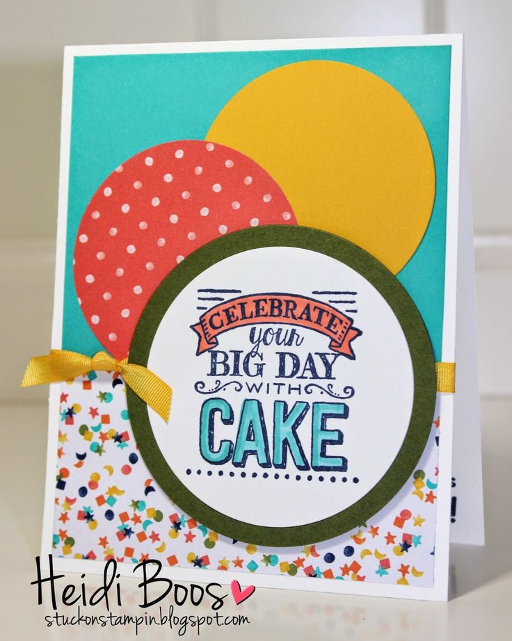 SU! Big Day stamp set; Calypso Coral and Bermuda Bay Blendabilities; Whisper White, Bermuda Bay, Mossy Meadow and Crushed Curry card stock; Birthday Bash DSP; Circle Framelits - Heidi Boos