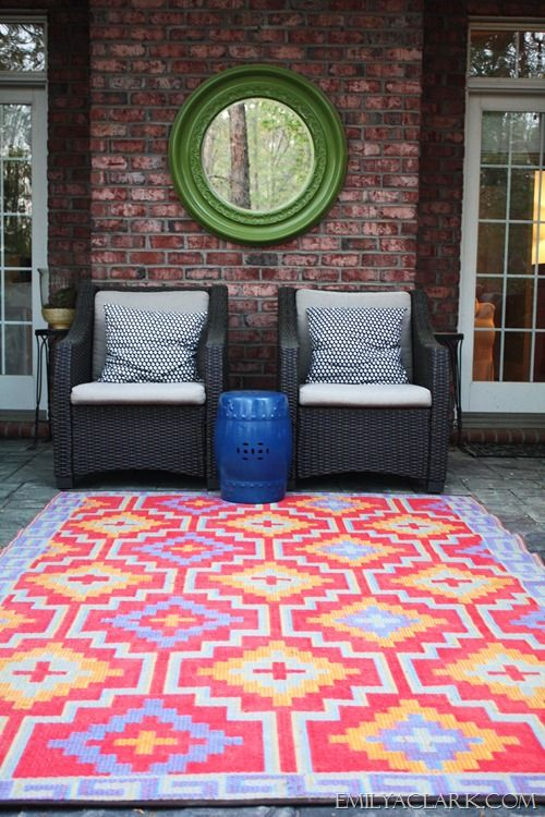 outdoor space with colorful rug