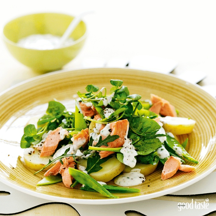 A great spring dish: salmon and potato salad (and it's low-fat - only 5.5g of fat per serve) ~ recipe Chrissy Freer ~ pic Mark O'Meara