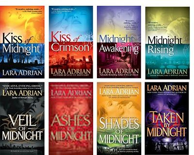 Midnight Breed Series by Lara Adrian. Another reason I Love Pinterest, first heard of this series on a book board, next day got the series in a bundle on sale, on book four now and love these books. Love my vampires.  :).  Thanks Pinterest Pinners. :)