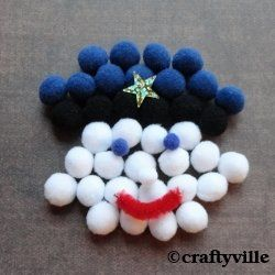 Cute policeman crafts. How to make a policeman pompom craft for kids. Also find lots of ideas for policeman crafts for drawing tutorials, with...