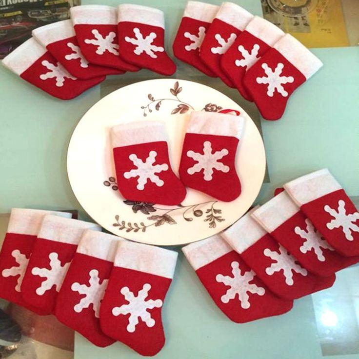 12 Pièces/ensemble Rouge Mini Bas De Noël Vaisselle Couvrir Arbre De Noël Décorations De Noël Décorations Festival Parti Ornement