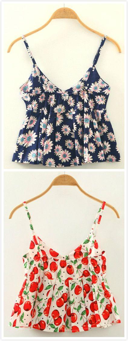 Women's Casual Spaghetti Strap Cherry Print Crop Top