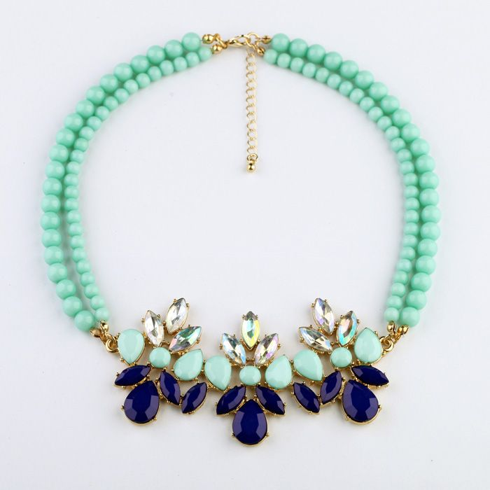 Fashion Occident Style two - tier green beads Blue flowers gems necklace   eBay