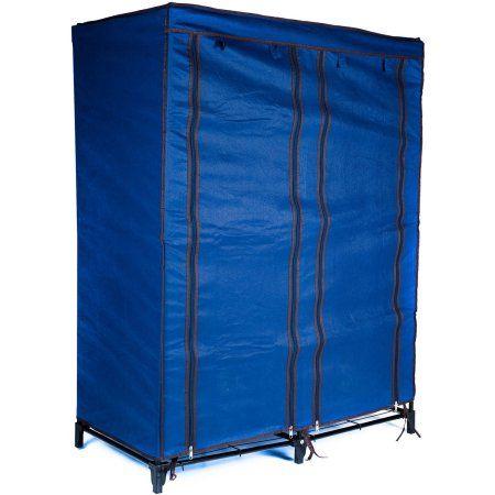 Everyday Home Clothes Closet Portable Wardrobe with Shelves, Blue