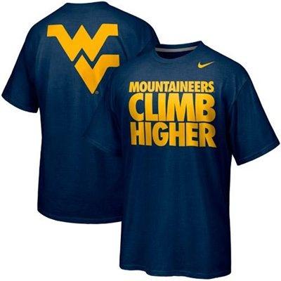 Nike West Virginia Mountaineers Basketball Mountaineers Climb Higher Campus Roar T-Shirt -Navy Blue