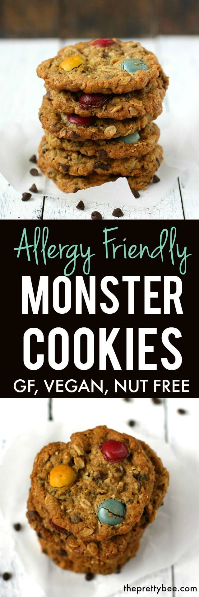 These allergy friendly monster cookies are delicious, chewy, and free of the top 8 allergens! Loaded with chocolate and oats, these are always a big hit.