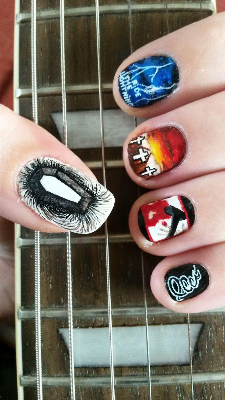 Metallica nail art by MissMarshmallowDude