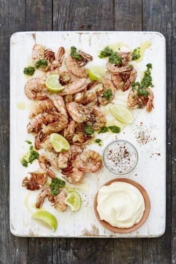 Prawns with Coriander Jalapeno Pesto and Mayonnaise recipe on www.nomu.co.za