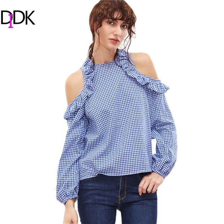 DIDK Female Ladies Casual Shirt Tops Woman's Fashion 2017 Tops Blue Gingham Ruffle Open Shoulder Lantern Sleeve Blouse