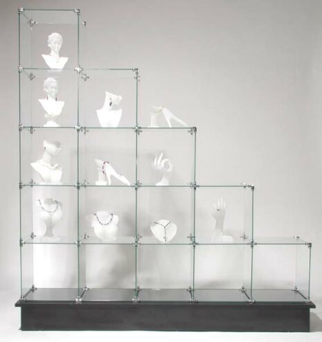 Professional looking display shelve at a low cost... 15 Cube Stair Glass Display for just $155