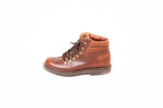 Women's brown leather hiking boots lace and hook size 8 | Lace ...