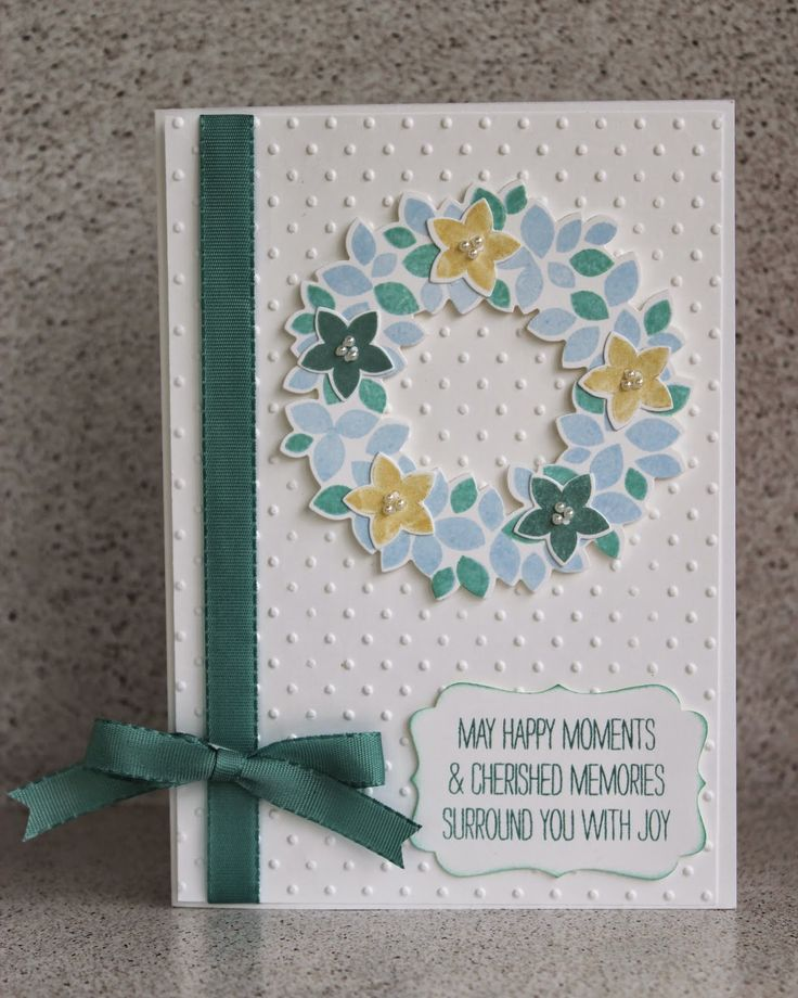 Stampin' Up! ... handmade card ... light and bright aquas and yellow ... Wondrous Wreath with small punched flowers ... like it ...