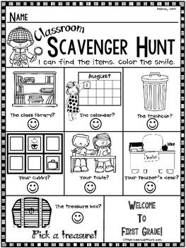 Does your school have an Open House, Meet and Greet or Orientation before the first day of school?This little scavenger hunt is a good way for the kiddos to meet their teacher and become familiar with the room and their surroundings.Have your new students go around the room checking off some of the different places in their new classroom as they go.