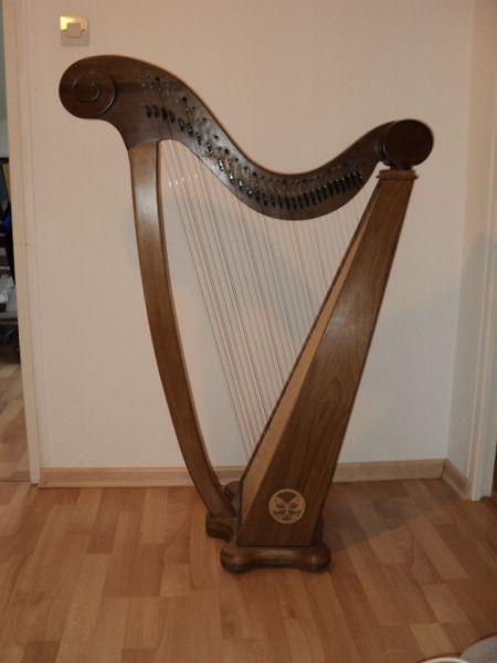 Voici mon petit chef d'oeuvre personnel: Une petite harpe celtique 19 cordes !  Il y a 3 ans ma fille est tombée en arrêt devant une harpe celtique à la biennale du bois de Grenoble, au coin des luthiers....