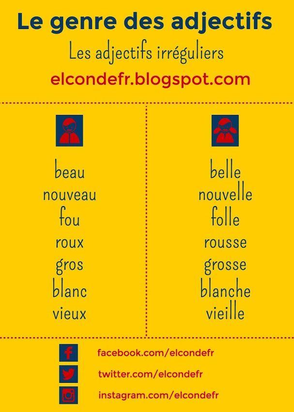 El Conde. fr: Le genre des adjectifs irréguliers