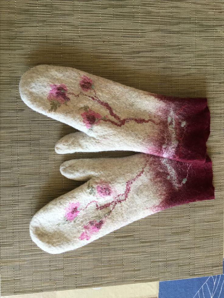 Burgundy felt mittens