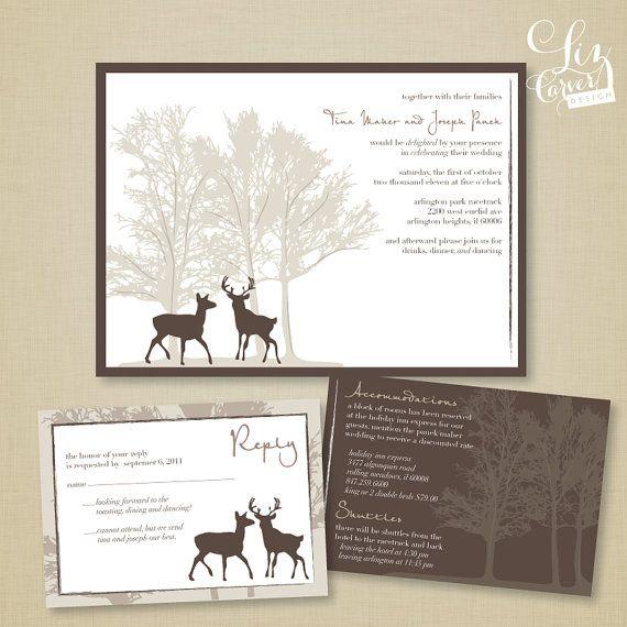 Deer Doe & Buck Tree Wedding Invitation by lizcarverdesign on Etsy, $3.25