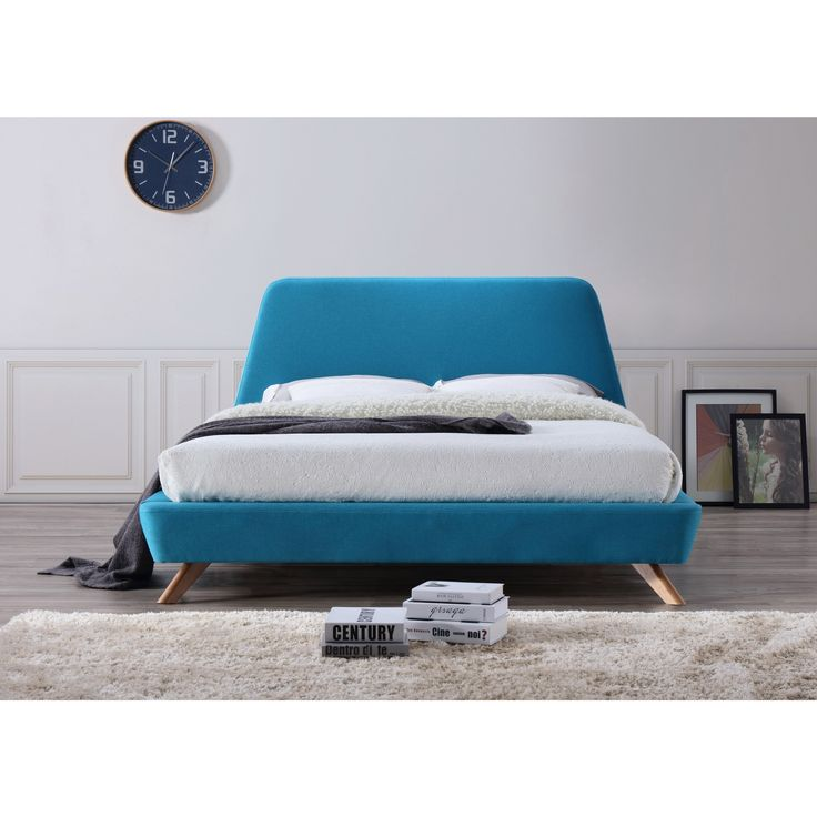 Omax Decor Henry Mid-Century Modern Upholstered Queen-Size Platform Bed (Beige)