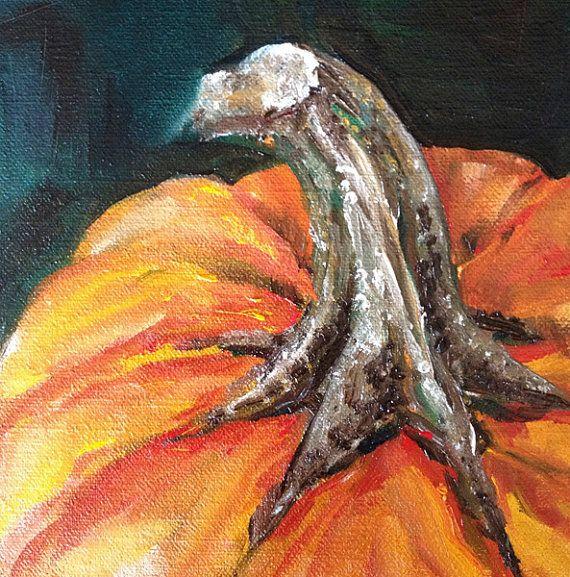 Orange Pumpkin Stem ORIGINAL Oil Painting by by KristineKainer, $100.00