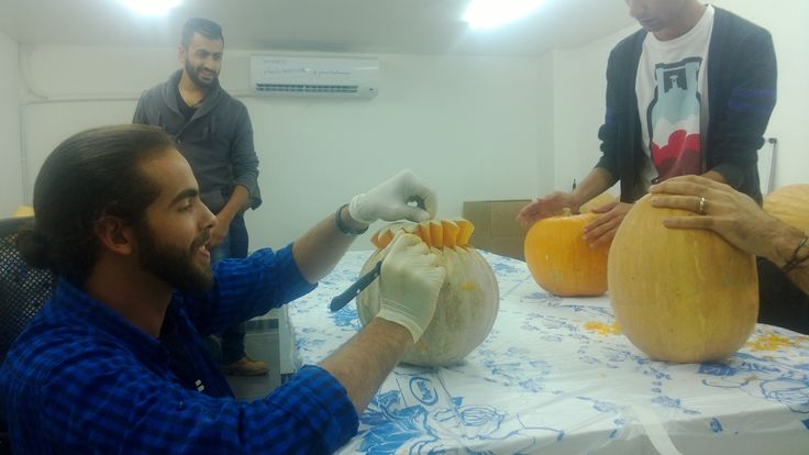 Anmar working on his pumpkin! #Jobedu #Halloween #Pumpkins #PumpkinCarving #JobeduHalloween http://www.jo-bedu.com/
