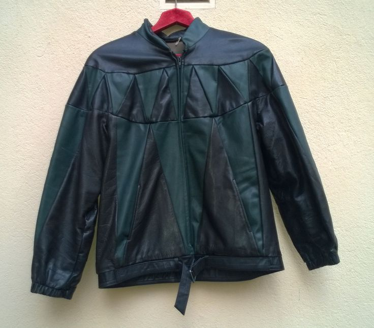 Vintage 80s Coat Leather Jacket green+Black Harlequin Rockstar Circus Leather Jacket 1980s VINTAGE JACKET Unisex Leather jacket Medium by VirtageVintage on Etsy