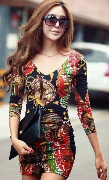 Sexy V Neck Printed Long Sleeve Dress With Shades
