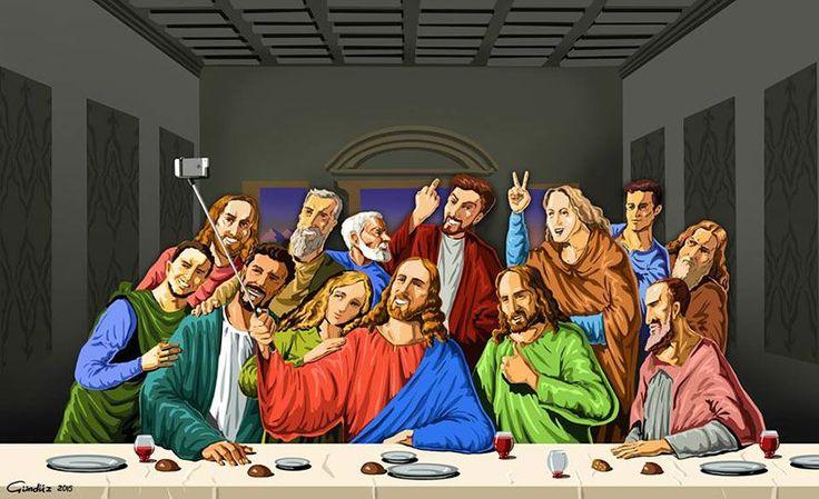 Le Saint Selfie  illustrations satyriques de religieux faisant des selfies par Gunduz Agayev  2Tout2Rien