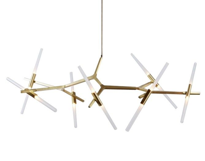 """Replica Lustre 14 Bulb Agnes Chandeliers Designed exclusively for Roll & Hill, Agnes is a design that features a modular anodized aluminium structure which can be assembled in configurations starting from a small, 6-light chandelier to a 20-light chandelier or even larger sizes. """"Agnes, in its ideal state, would be a very large fixture.  http://www.lucretiashop.com.au/lucretiashop/index.php/new-arrivals/replica-lustre-14-bulb-agnes-chandeliers-in-brushed-brass.html"""