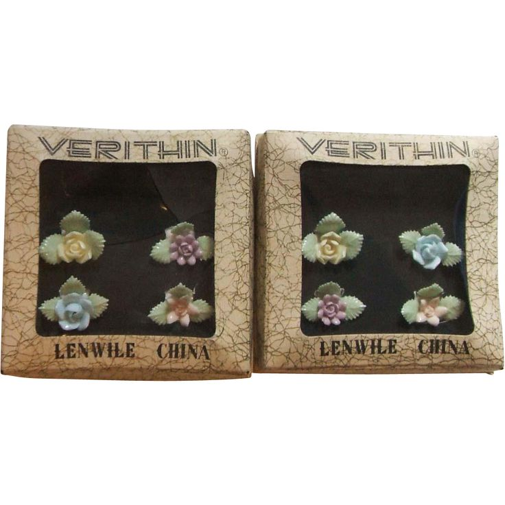 8 Lenwile Verithin Ardalt Japan Pastel China Flower Place Card Holders 2 Boxes of Four 6015
