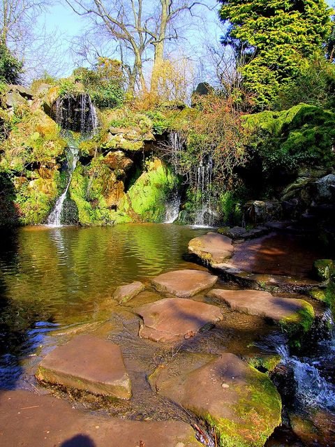 Stepping stones across the Sefton Park Fairy Glen in Liverpool, England