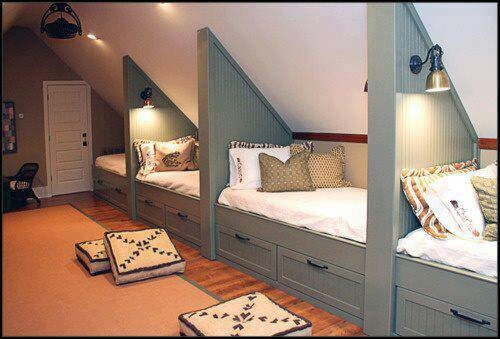 Awesome idea for an attic, basment or famikey/hang out room then kids or guest can be with everyone but have own space.