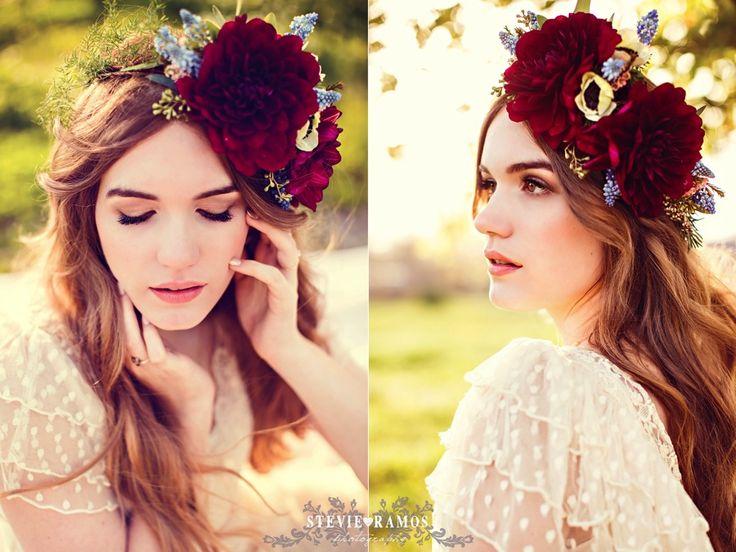 Stevie Ramos Photography, Vintage Wedding, Bridal Portrait, Flower Head Piece, Poppy & Mint Floral,  Natural Wedding Makeup