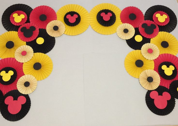 Mickey Mouse birthday decorations DIY Mickey Mouse birthday Minnie Mouse Rosettes Paper Fans https://www.etsy.com/listing/267842215/paper-rosettes-mickey-mouse-birthday