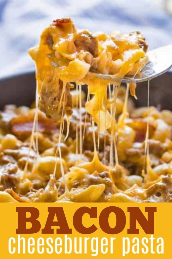 Bacon Cheeseburger Pasta Combines Elbow Macaroni Ground Beef And Bacon Along With Cheddar Dinner With Ground Beef Beef Recipes For Dinner Cheeseburger Pasta