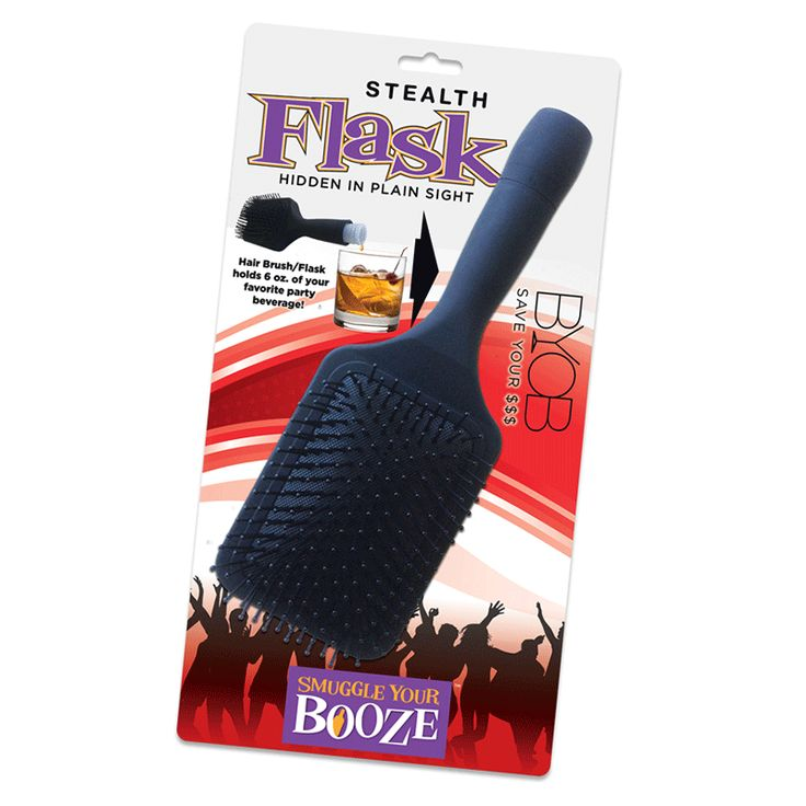 Smuggle Your Booze - Stealth Hair Brush Hair Brush/Flask holds 6 oz. of your favorite party beverage! http://www.MightGet.com/january-2017-13/unbranded-smuggle-your-booze--stealth-hair-brush.asp
