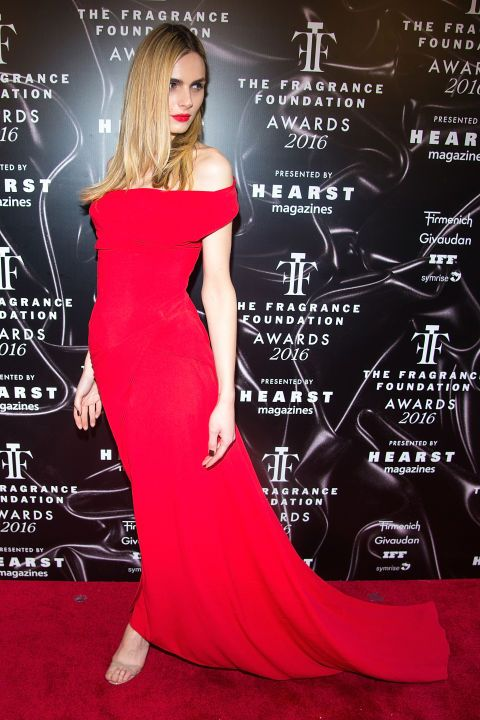 17 best dressed at the Fragrance Foundation awards: Andreja Pejic stands out in a sultry red off the shoulder gown.