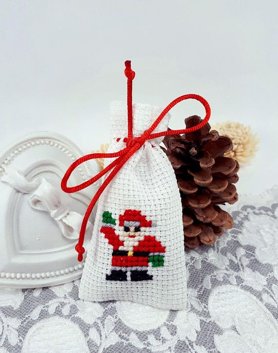 Cross stitch Christmas gift bag small Christmas gift pouch